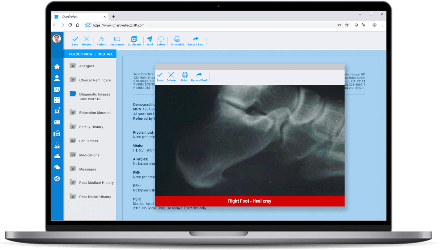 ChartPerfect EHR device connectivity HL7 interfaces for podiatry practices