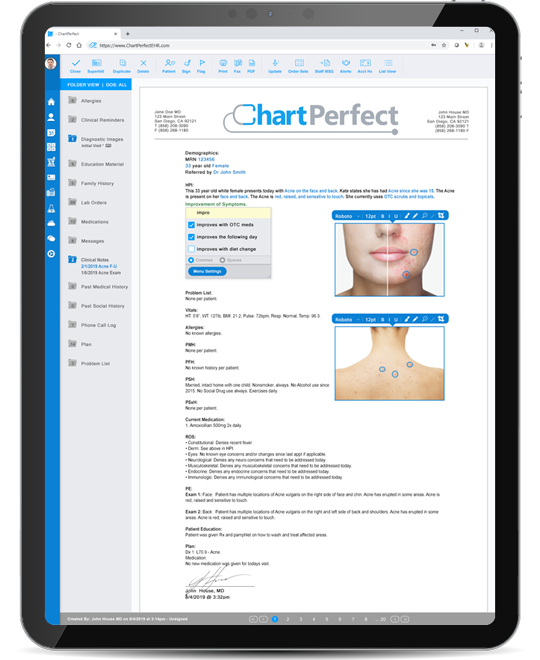 ChartPerfect EHR patient encounter notes and templates