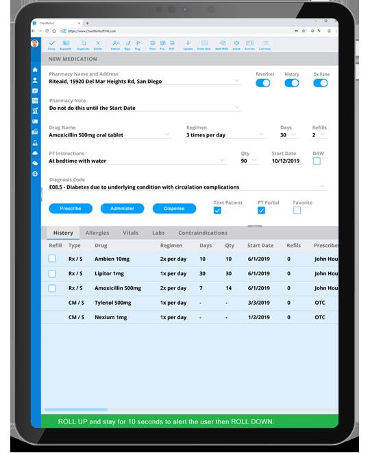ChartPerfect EHR integrated e-prescribing solution