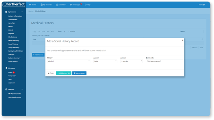 ChartPerfect EHR customizable online patient intake forms