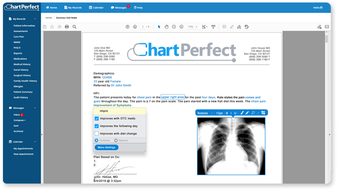ChartPerfect EHR clinical visit summary shared with patient in fully integrated patient portal