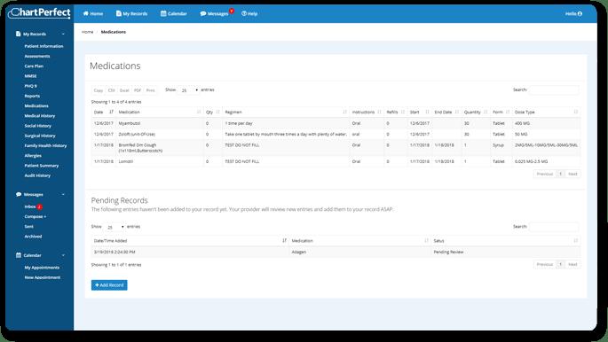 ChartPerfect's electronic prescription refill request feature