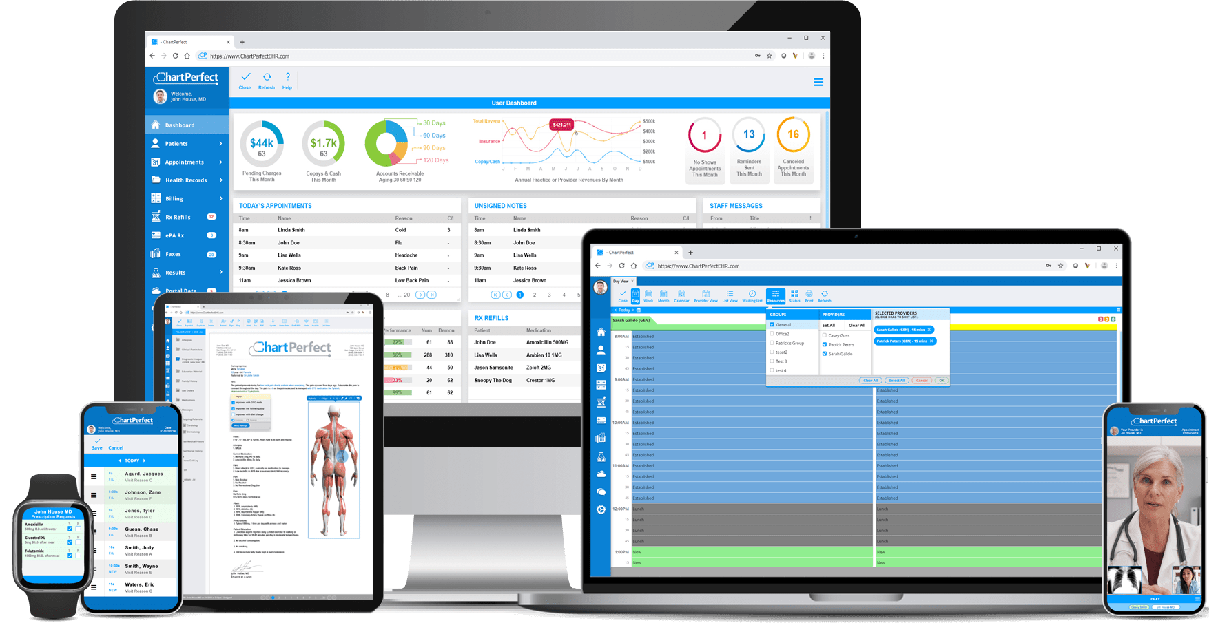 ChartPerfect EHR and Practice Management software on desktop, laptop, wearable devices, tablet, and mobile phone