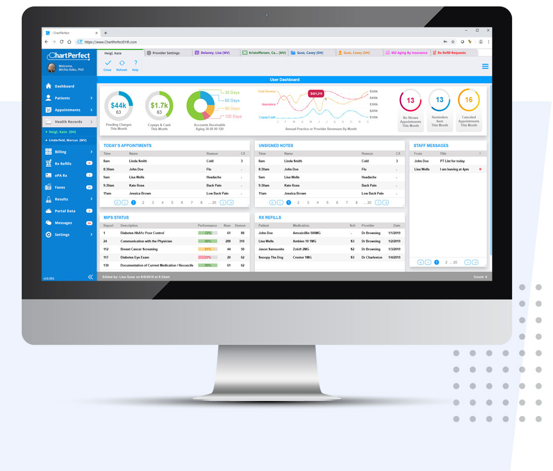 ChartPerfect's practice management reporting software