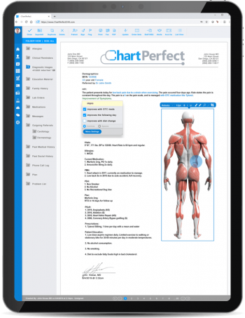 ChartPerfect EHR customizable notes and forms for internal medicine practices
